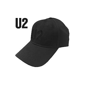 U2 Baseball Cap Black on Black Band Logo new Official Black Strapback