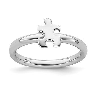 2.5mm 925 Sterling Silver Polished Stackable Expressions Rhodium plated Awareness Puzzle Piece 10 Inch Jewelry Gifts for