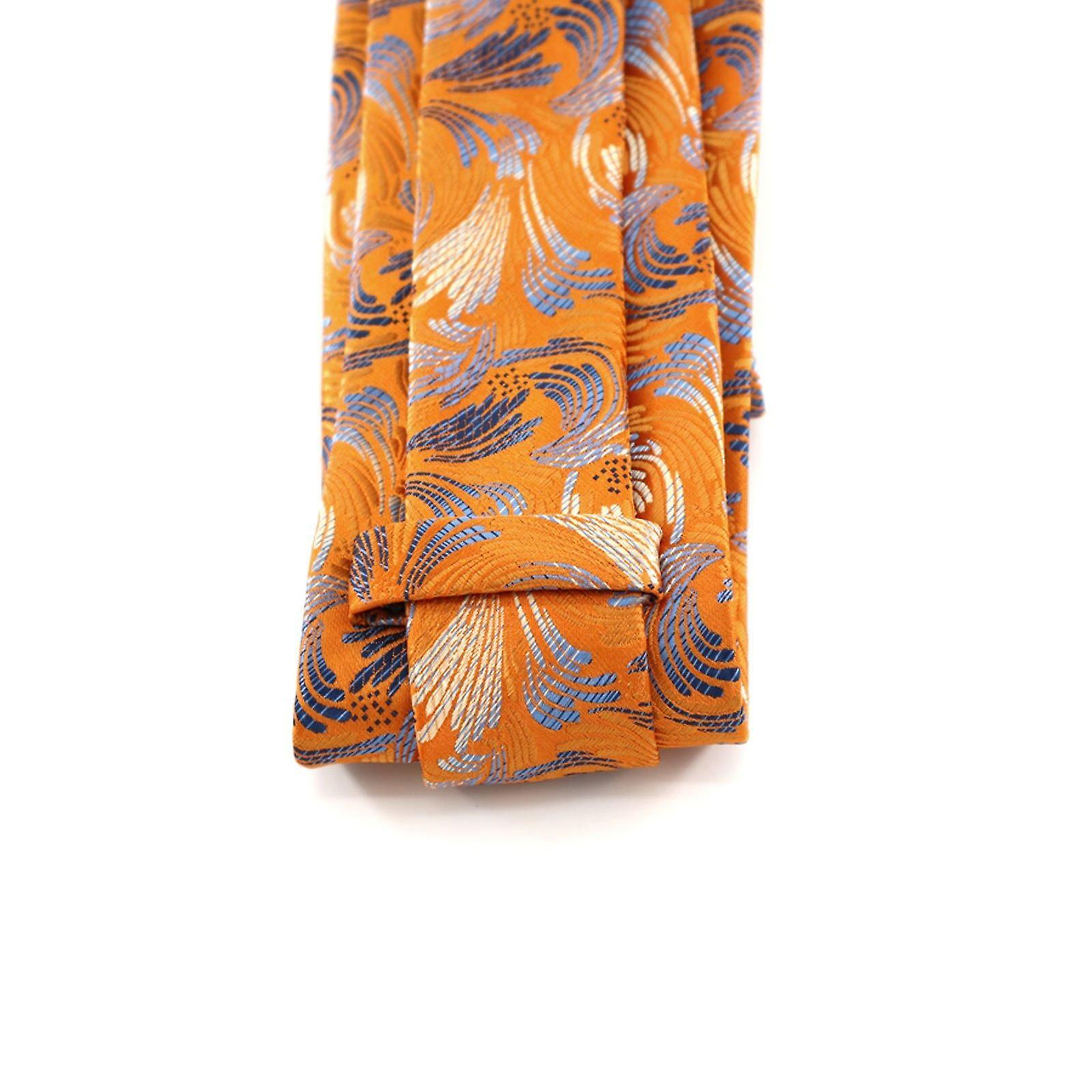 Orange & silver floral designer tie & pocket square set
