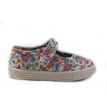 Startrite Posy Cream Floral Canvas Girls Mary Jane Shoes