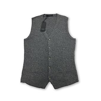 VNECK knitted waistcoat in grey waffle texture