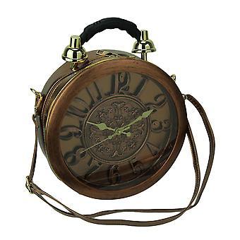 Antieke koperen afwerking ronde Crossbody tas met werkende klok