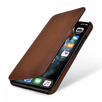 Case For iPhone 11 Pro Max Book Type Brown In True Leather