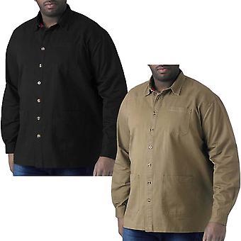 Duke D555 hombres grande alto tamaño Ramsey manga larga manga pesada algodón camisa de algodón