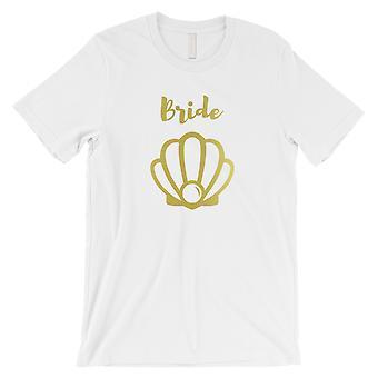 花嫁貝殻-GOLD メンズホワイトTシャツ楽しいエキサイティングなクールな結婚式
