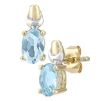 Citerna Women's Pearl Earrings - Two-tone Gold - Aquamarine