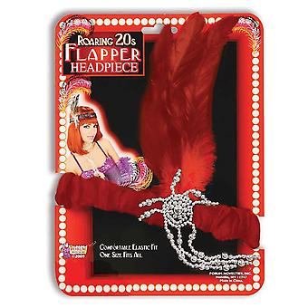 Bristol Novelty Flapper Headpiece Red Feathers
