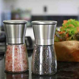 Salt and Pepper Grinders | With Metal Tops and Glass Base | Elegant Set of 2 Pieces Made of Glass and Stainless Steel