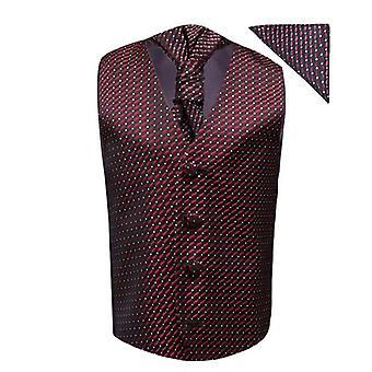 Boys Burgundy Wedding Waistcoat Cravat Hanky Set