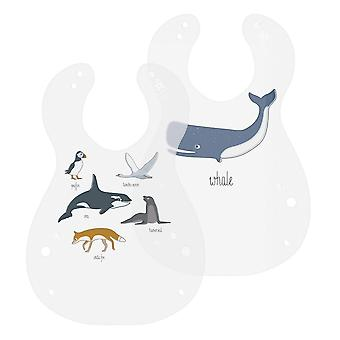 Sebra - bib - arctic animals - 2 pieces