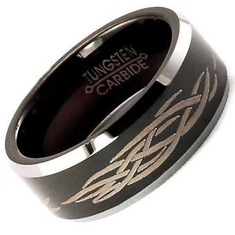 Dazzlingrock Collection Tungsten Carbide Unisex Ring Wedding Band 8MM (5/16 inch) Black Laser Engraved Tribal Comfort Fit