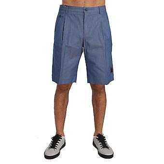 Dolce & Gabbana Byx1306Blue Cotton Crown Chinos Knieën Hoge Shorts