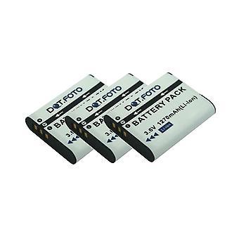 3 x Dot.Foto DB-110 PREMIUM Remplacement de la batterie de l'appareil photo rechargeable pour Ricoh - 3.6v / 1270mAh - Garantie de 2 ans [Voir description de la compatibilité]