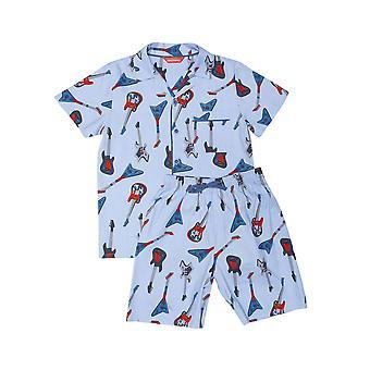 Minijammies 6478 Boy's Billy Blue Guitar Print Cotton Pyjama Short Set