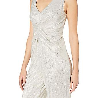 Adrianna Papell Women's Wrapped Knit Jumpsuit, White, White Gold, Size 10.0