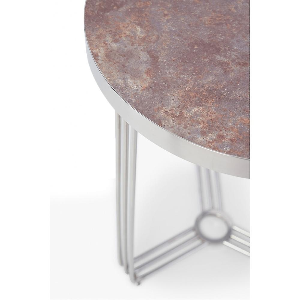 Gillmore Deco - Medium Circular Coffee Table With Various Stone Tops And Frame Colour Options