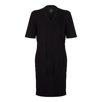 VIZ-A-VIZ negro Hi cuello de espalda bajo V-cuello vestido