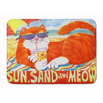 Orange Tabby at the beach Machine Washable Memory Foam Mat