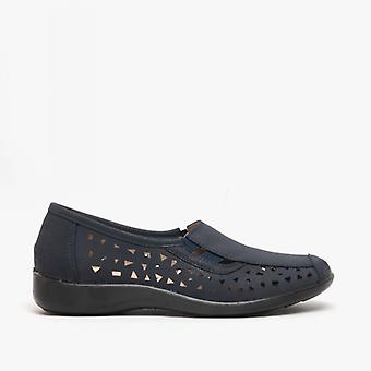 Boulevard Marsha Ladies Cut-out Slip-on Shoes Navy Blue