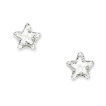 14k White Gold CZ Cubic Zirconia Gesimuleerde Diamond Small Star Schroef terug Oorbellen maatregelen 7x7mm sieraden geschenken voor vrouwen