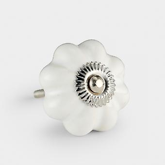 Ceramic Door Knob - White - Flower