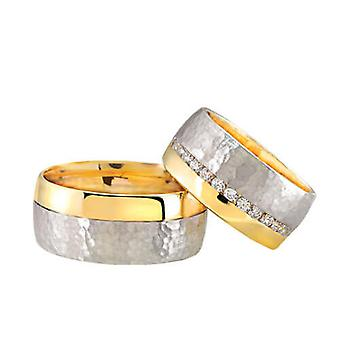 Christian bicolor wedding rings with diamonds
