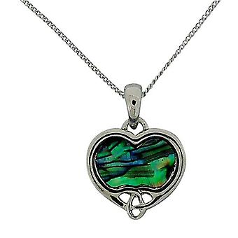 The Olivia Collection Celtic Green Heart Paua Shell Pendant 16