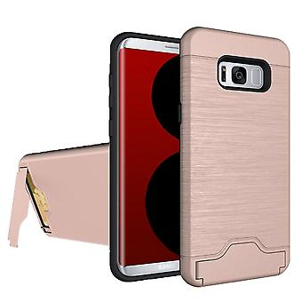 Voor Samsung Galaxy S8 Case, Modieuze Geborsteld Card Slot Armour Cover, Rose Gold