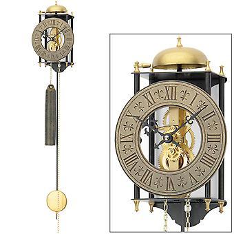 AMS 301 wall clock with pendulum mechanical golden black metal pendulum clock skeleton clock