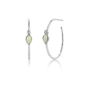 Ania Haie Silver Rhodium Plated Opal Colour Raindrop Hoop Earrings E014-04H