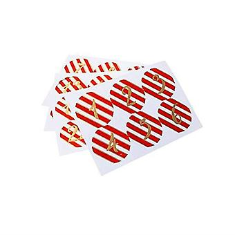Advent Stickers 24 Traditional Round Red Christmas Craft Stickers Numbers