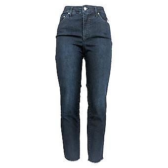 H by Halston Women's Denim Straight Ankle Pants /Seam & Pleat Blue A353783