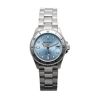 Beuchat Watch BEU1955-3 - Dateur Unidirectional Bezel 20 ATM Steel Silver Blue Dial Women