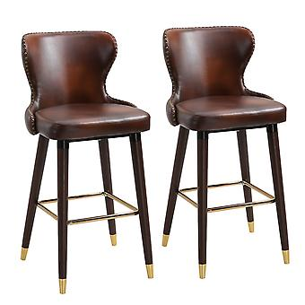 HOMCOM Set of 2 PU Leather Vintage Counter-Height Bar Chair, Home Luxury European Style Bar Stool Kitchen Counter with Back, Brown and Golden