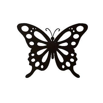 Schmetterling Wanddekoration Schwarz Farbe Stahl 48x0.15x37 cm