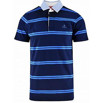 GANT Navy Randig Rugger Polo Shirt