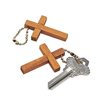 12 Wooden Christian Cross Keyring Party Bag Fillers