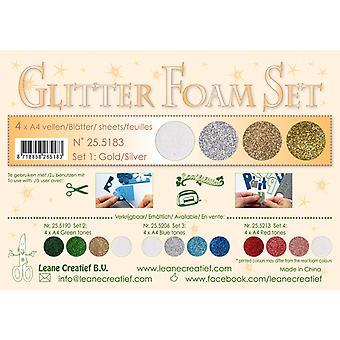 Leane Creatief Glitter Foam A4 Set 1 Gold-Silver