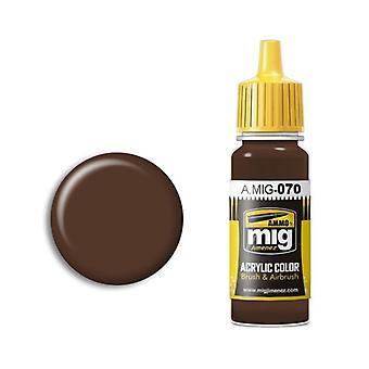 弾薬:ミグアクリルペイント - A.MIG-0070 ミディアムブラウン(17ml)