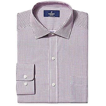BUTTONED DOWN Men's Classic Fit Spread-Collar Non-Iron Dress Shirt, Berry/Red...