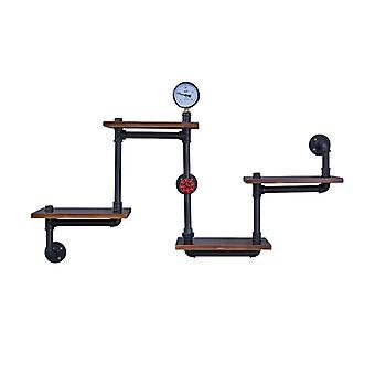 Danya B. Esquina flotante de 4 niveles o recta escalonada flotante industrial rústico tubo estanterías unidad de pared