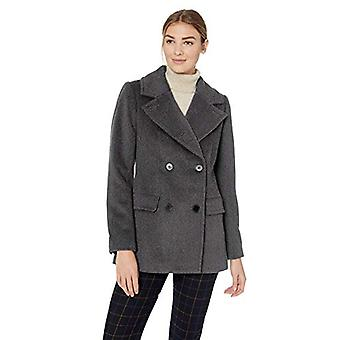 Lark & Ro Women's Double Breasted Peacoat, charcoal, 12