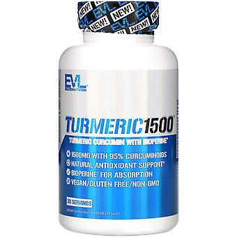 EVLution Nutrition, Turmeric1500, 90 Veggie Capsules