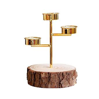 Wooden Base Gold Candle Holder with 3 Candle Holders