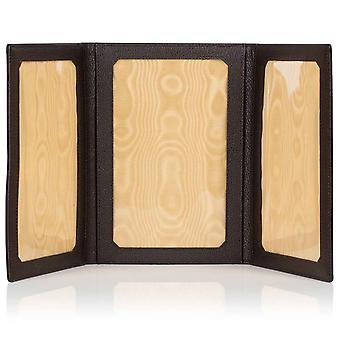 "Espresso Malvern Leather Triple Folding Photo Frame 6"" x 4"""