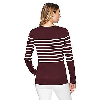 Essentials kvinner's lett crewneck genser, burgunder / havregryn lyng plassert stripe, stor