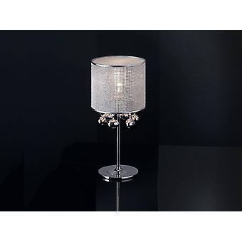 Krystal bordlampe poleret mesh krom, E14