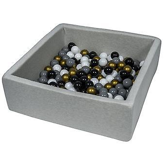 Poço de bola quadrada 90x90 cm com 150 bolas pretas, brancas, douradas e cinza