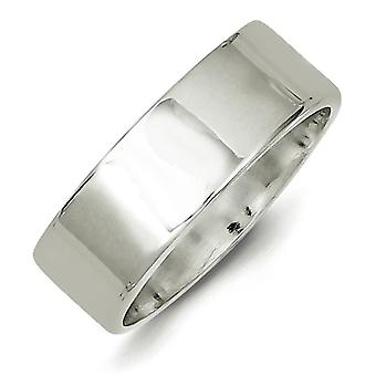 925 Sterling Silver Solid Polished Engravable 7mm Flat Band Ring - Ring Size: 4.5 to 12