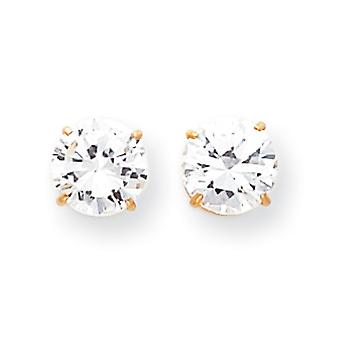 14k Yellow Gold Polished Prong set 8mm Cubic Zirconia Post Earrings - Measures 8x8mm